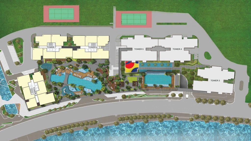Mặt bằng tổng thể The View Riviera Point. 1 tầngchỉ bao gồm 5-6 căn hộ, 3 thang máy